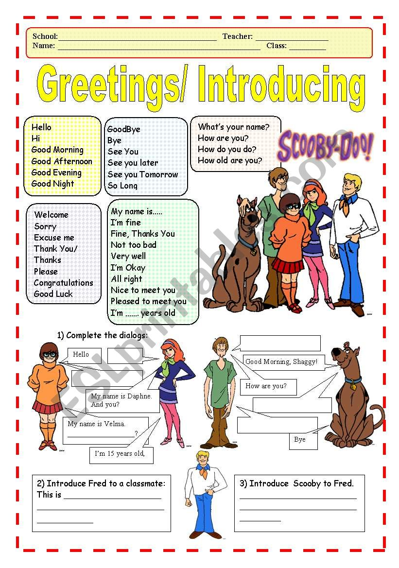Greetings/Introducing worksheet