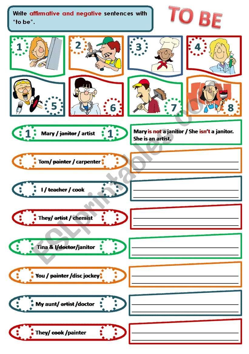 VERB TO BE - NEGATIVE FORM worksheet