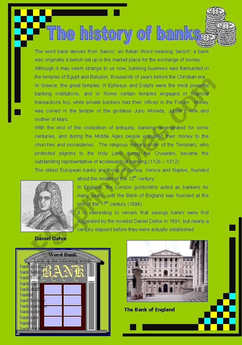 The history of banks worksheet