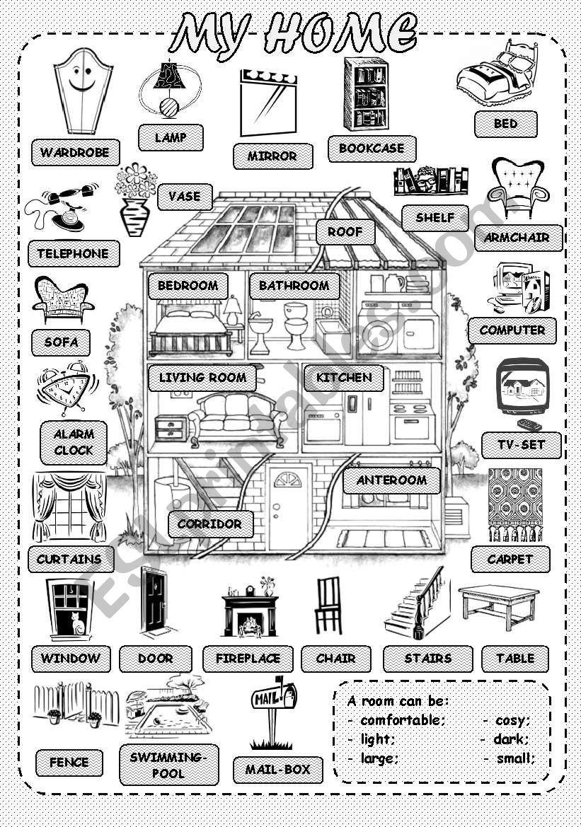 My Home Esl Worksheet By Helenvin