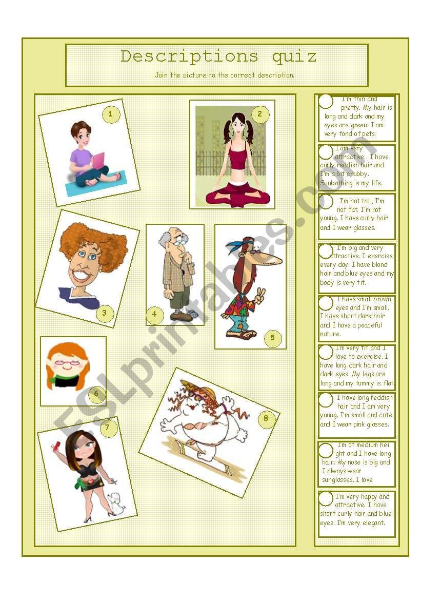 Descriptions QUiz worksheet