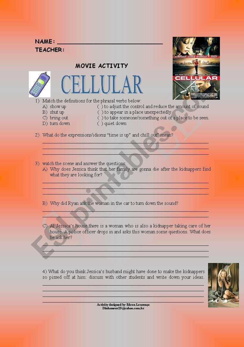 movie cellular worksheet