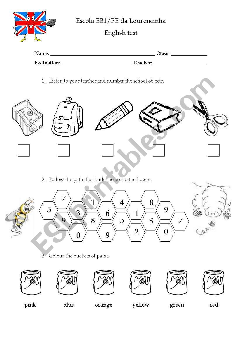 1st grade test worksheet