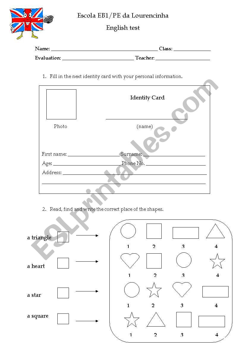 2nd grade test worksheet