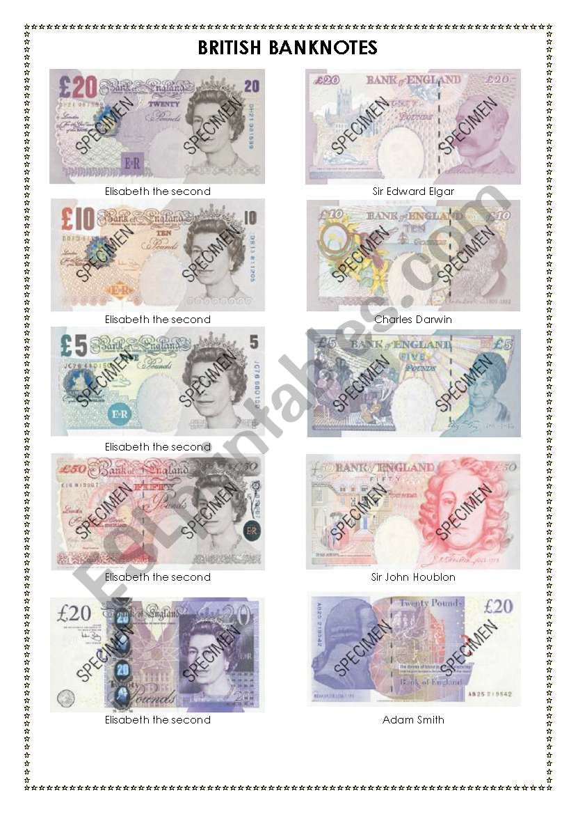 British banknotes worksheet