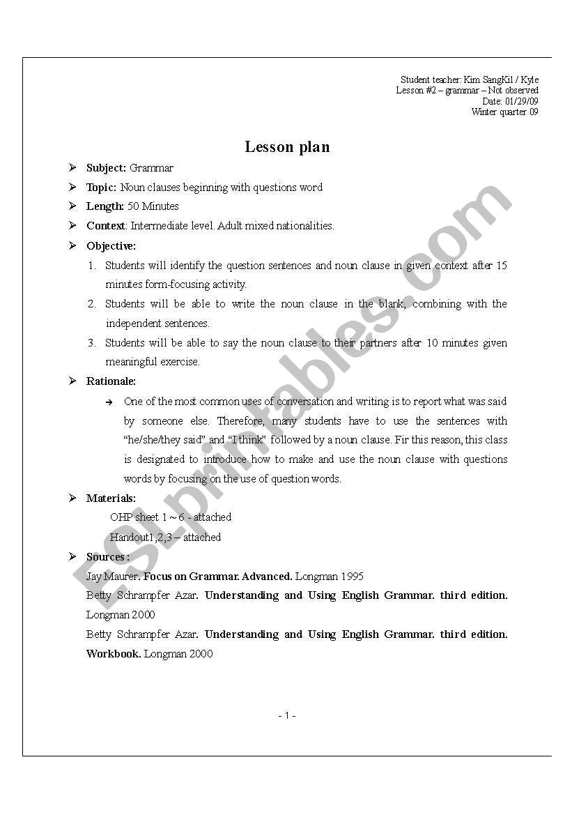 Noun clauses beginning with questions word - ESL worksheet
