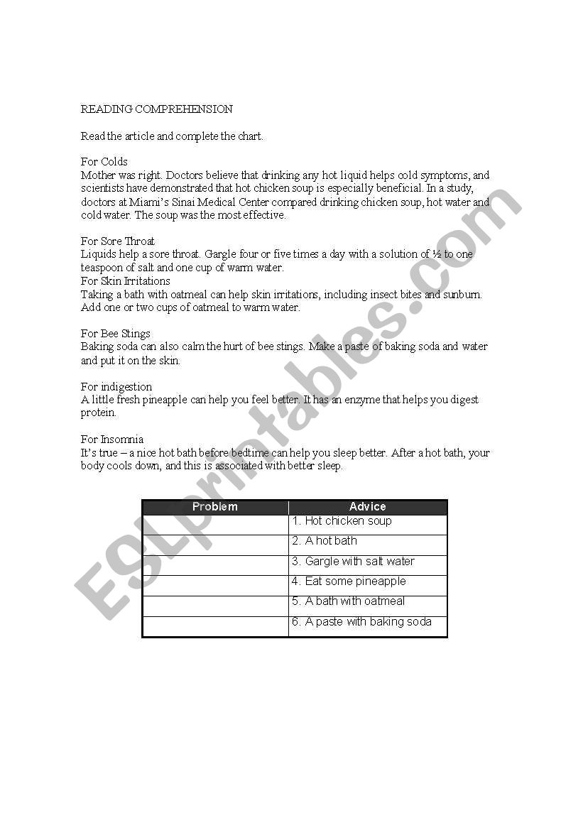 Home remedies worksheet