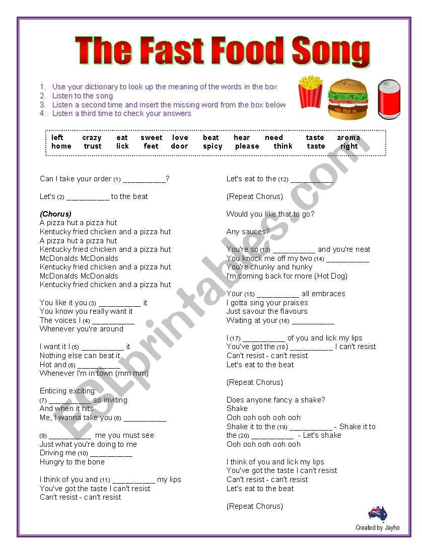The Fast Food Song Cloze Activity Esl Worksheet By Jayho