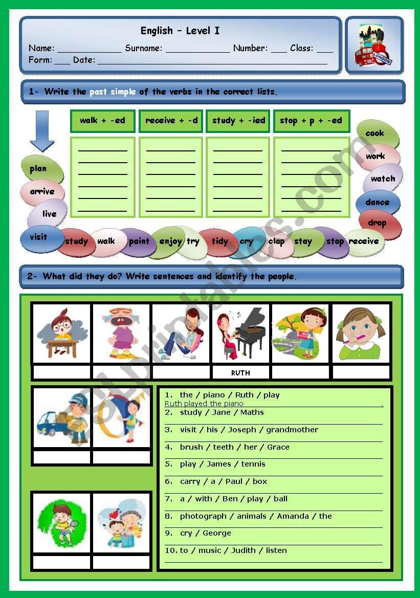 PAST SIMPLE OF REGULAR VERBS worksheet