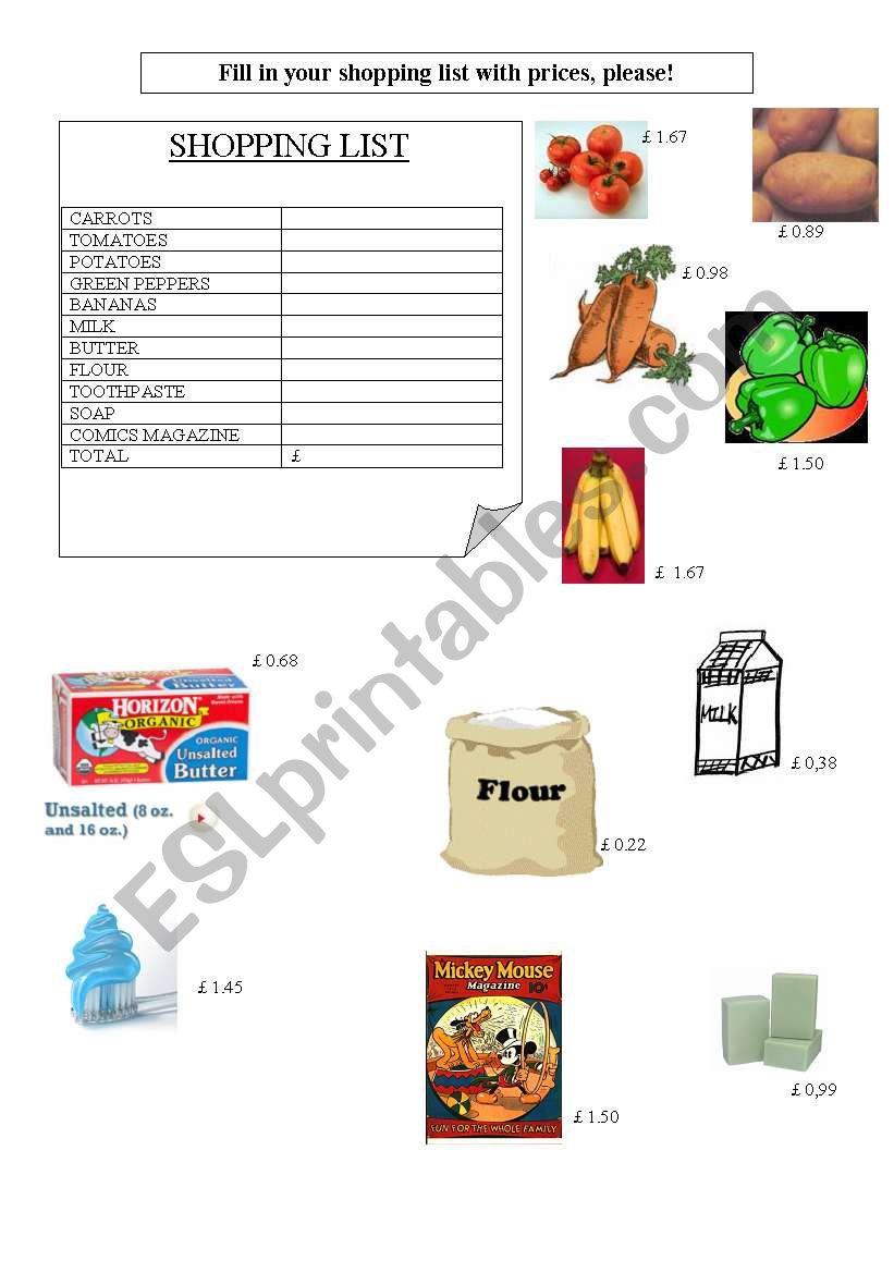 Let´s go shopping!  worksheet