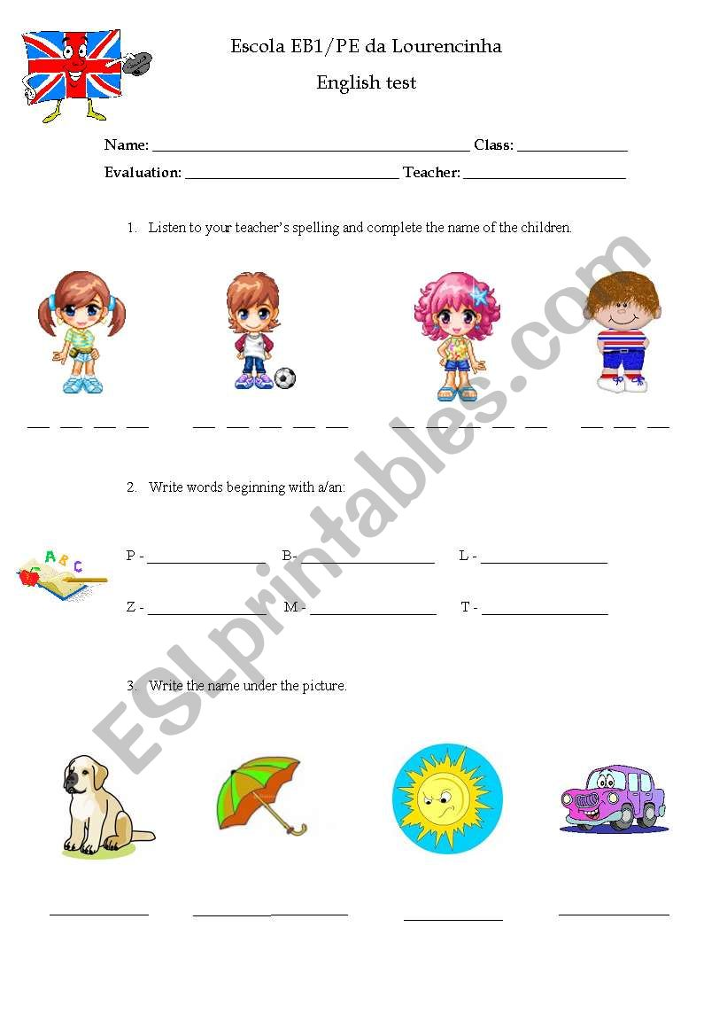 3rd and 4th grade test worksheet
