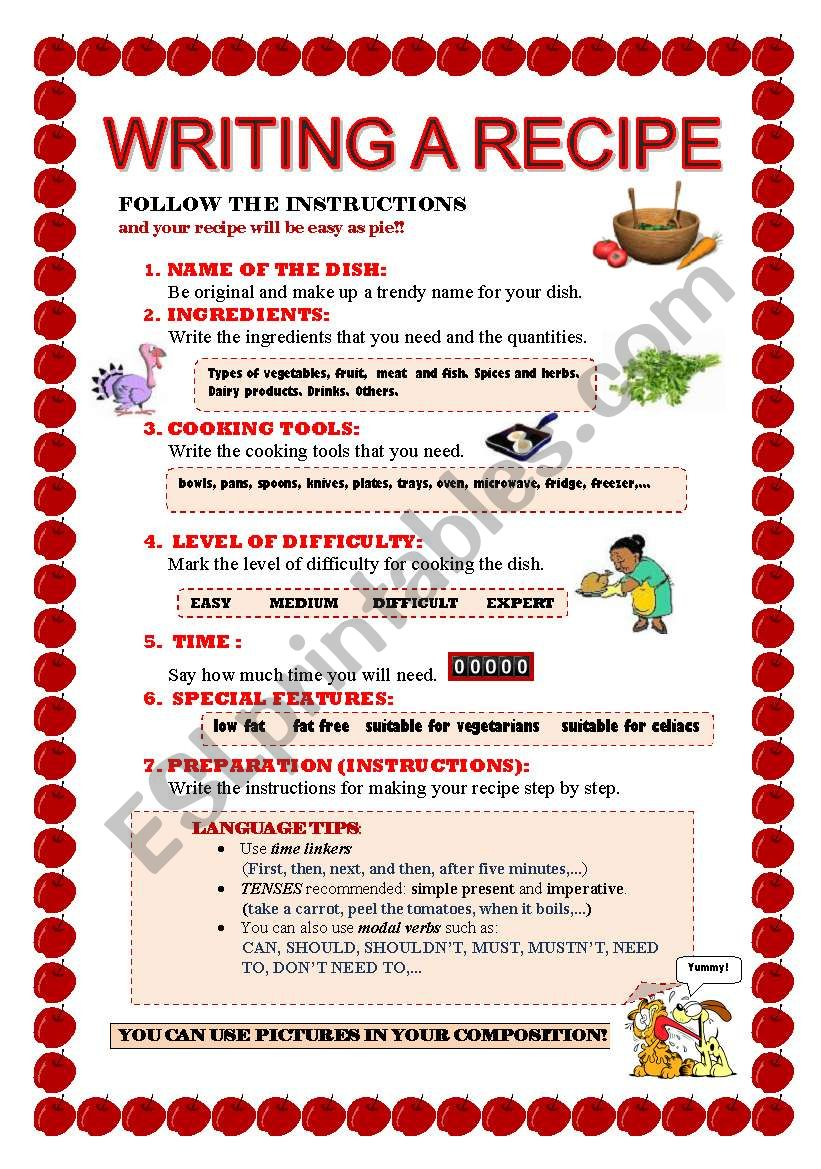 English Worksheets Writing A Recipe Worksheet