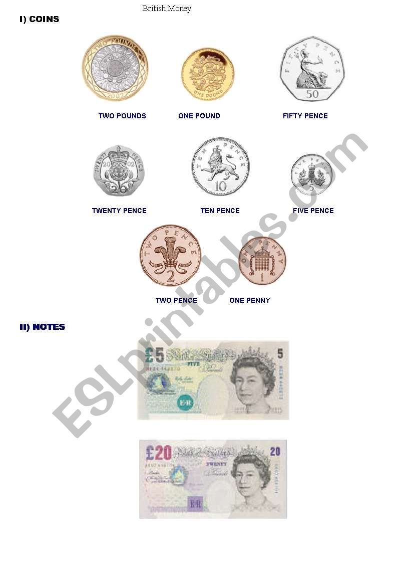 british money esl worksheet by goochie. Black Bedroom Furniture Sets. Home Design Ideas