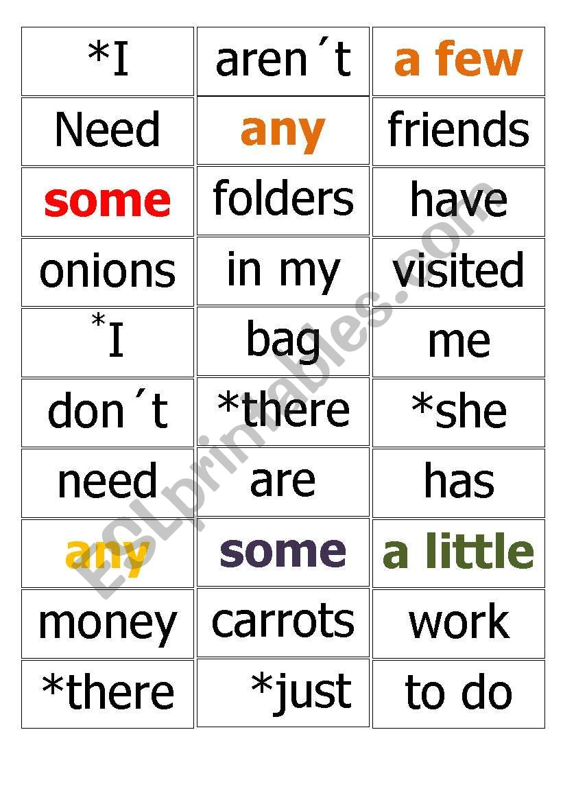 some or any !!! worksheet