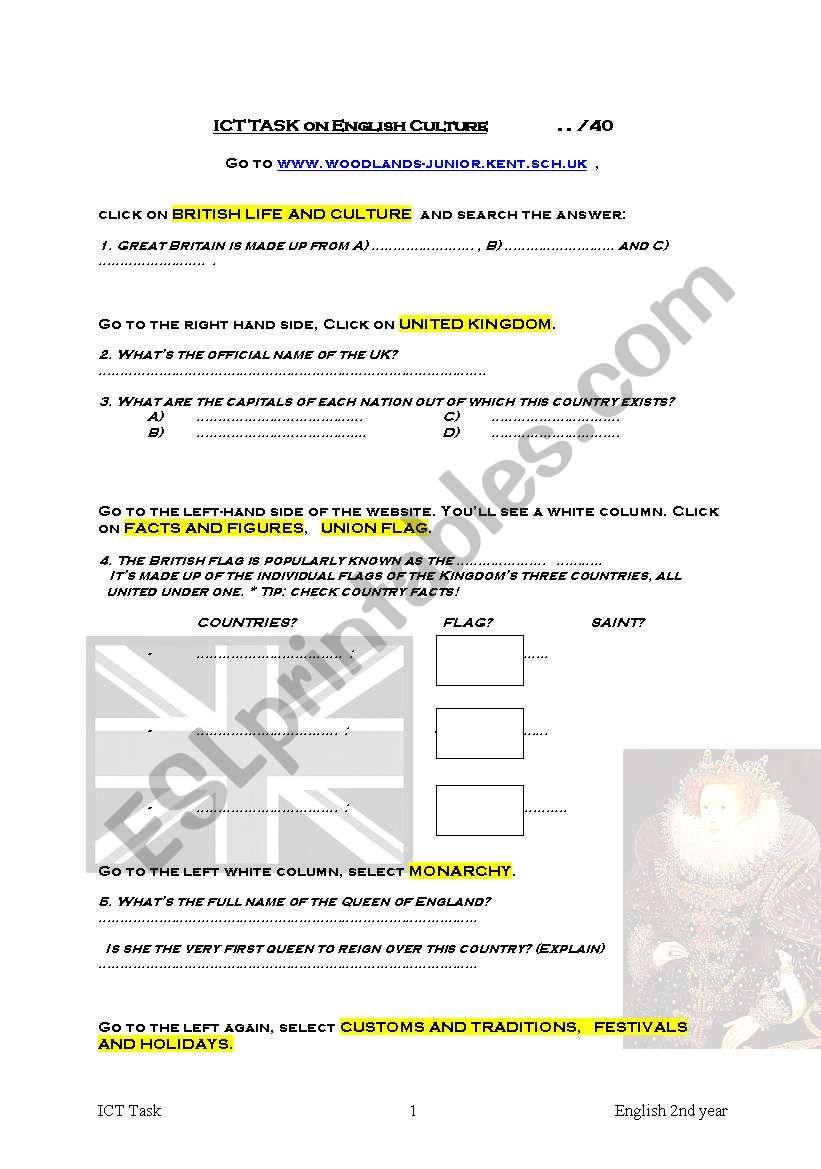 ICT British culture worksheet