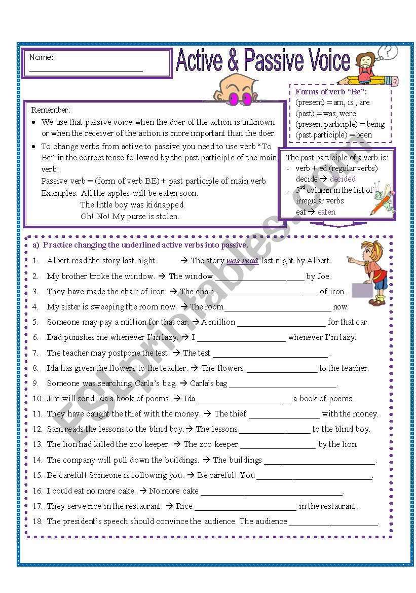 Active and Passive Practice worksheet