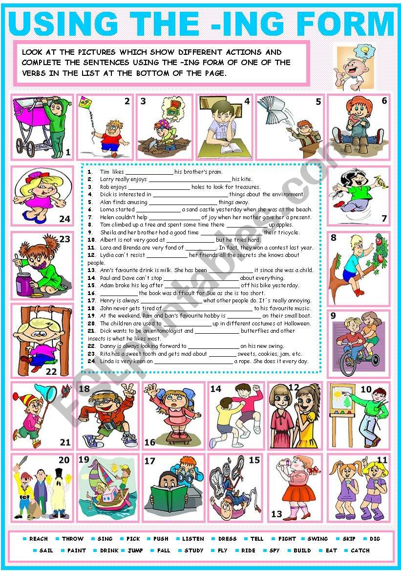 USING THE -ING FORM - ESL worksheet by Katiana
