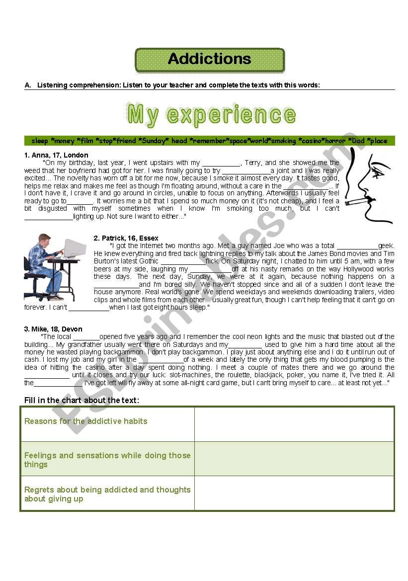 Addictions - my experience worksheet