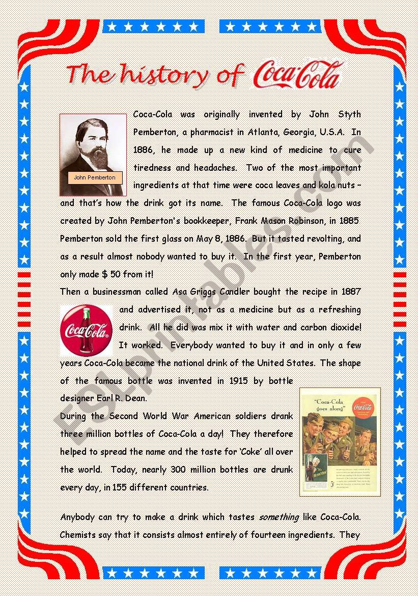 The history of Coca-Cola - 2 pages