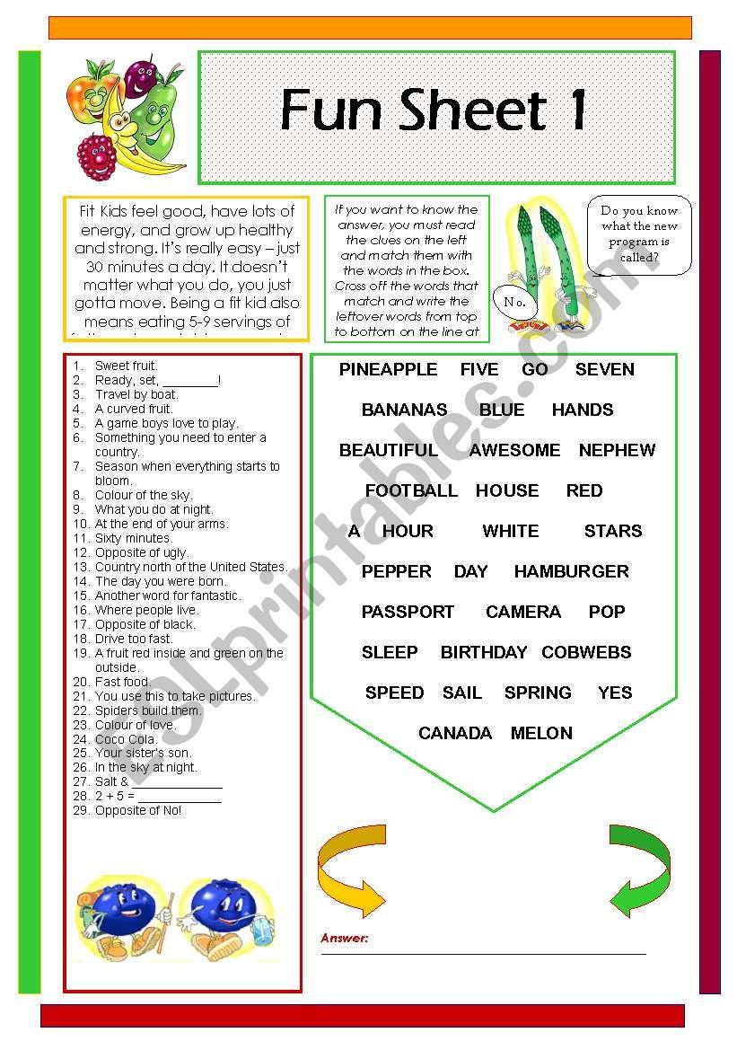 Fun Sheet 1 worksheet