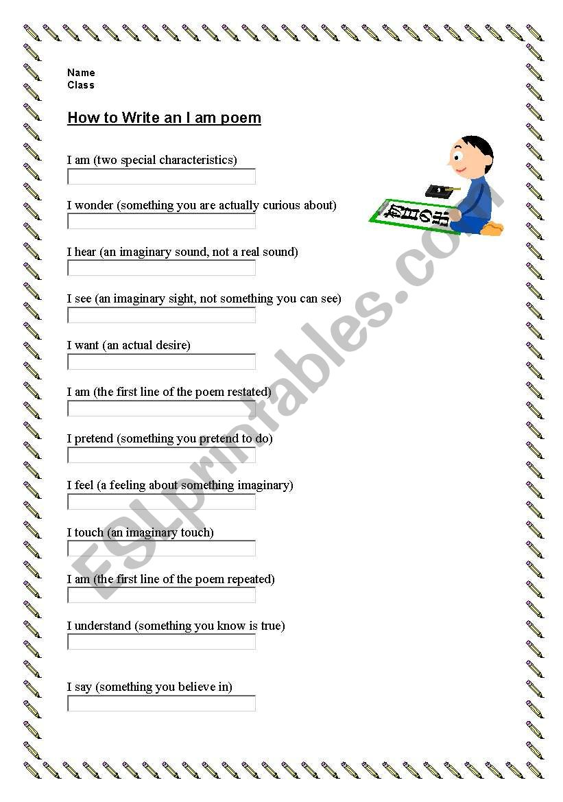 How To Write An I Am Poem Esl Worksheet By Koert
