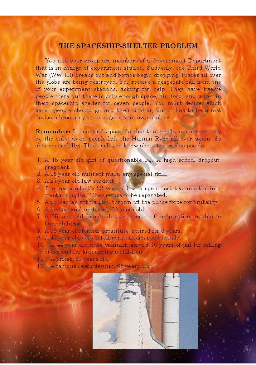 The Spaceship-Shelter Problem worksheet