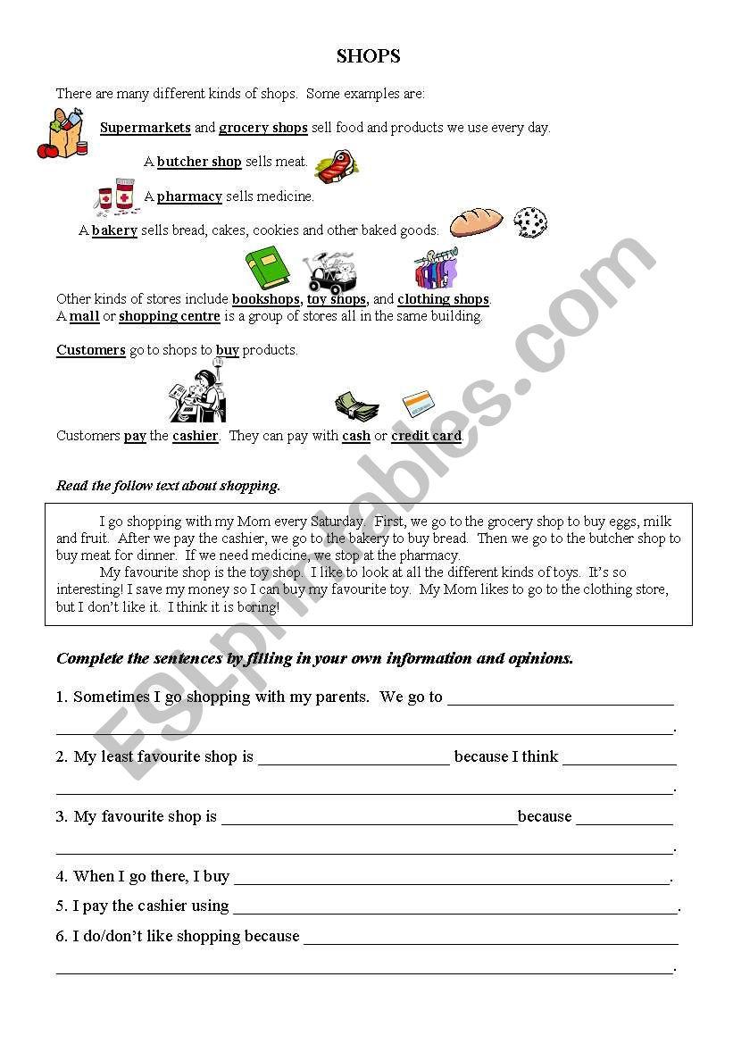 - Trinity Grade 4 Shops - ESL Worksheet By Klebeaux