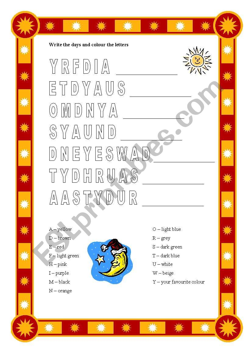 Days and colours worksheet