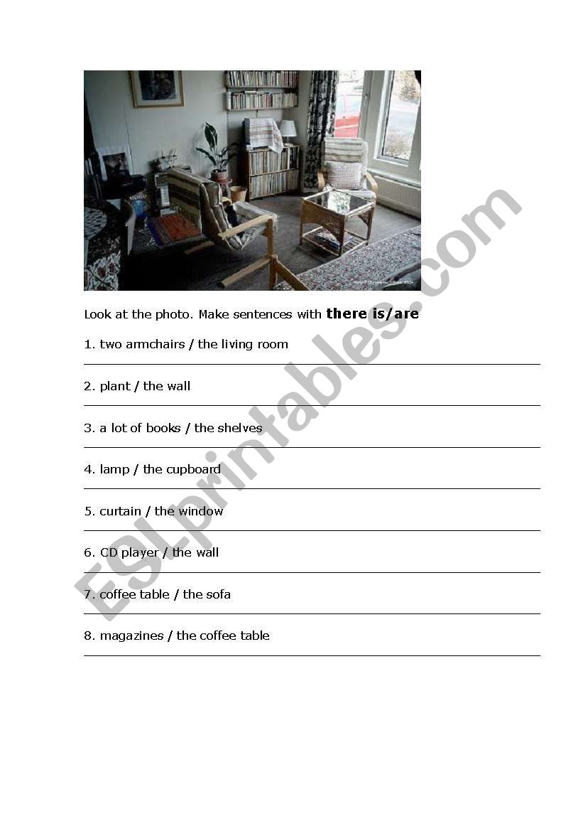 Picture of a room worksheet
