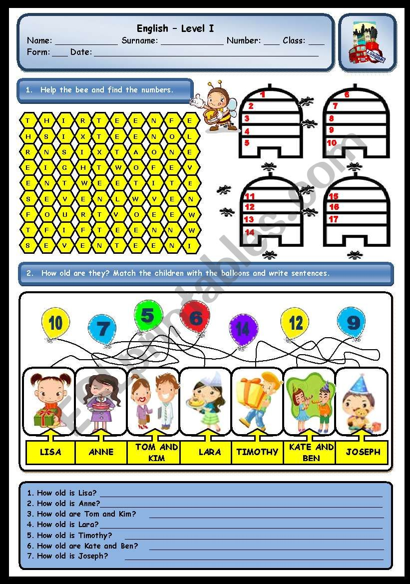 CARDINAL NUMBERS AND AGE worksheet