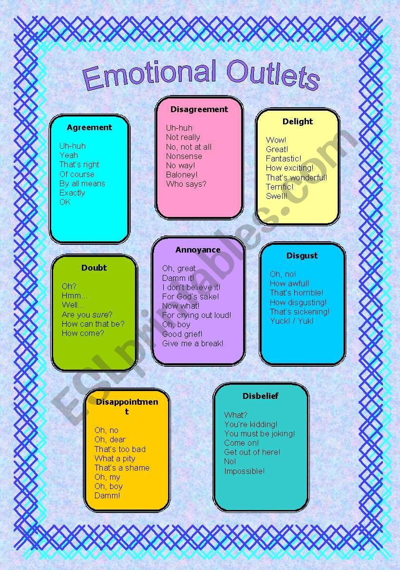 Emotional outlets  worksheet