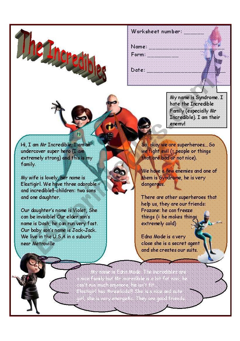 the incredibles 2 worksheets - ESL worksheet by jamiejules