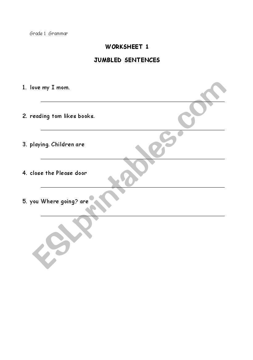English worksheets: Grade 1 Grammar - Jumbled Sentences 1