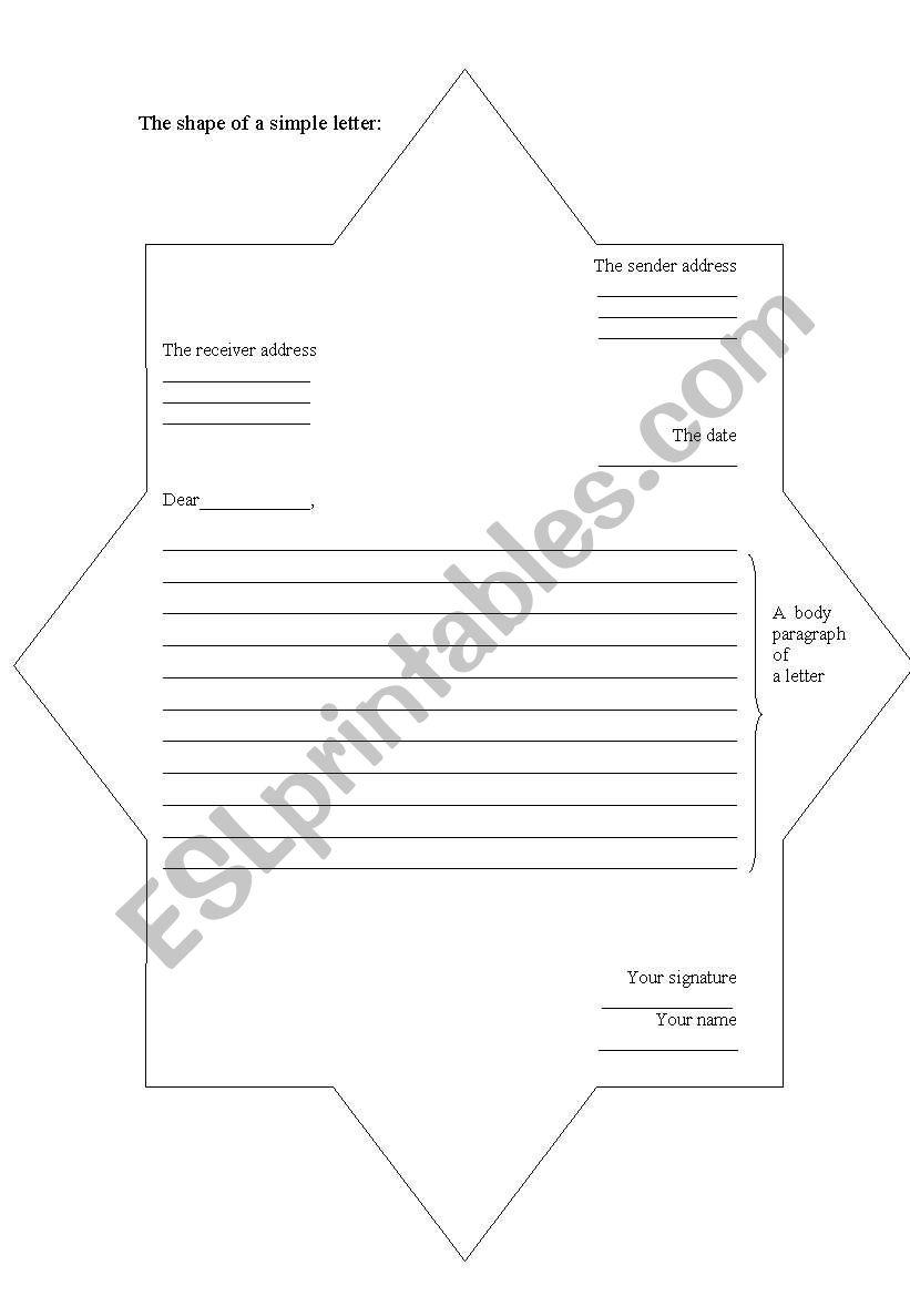 a shpe of letter worksheet