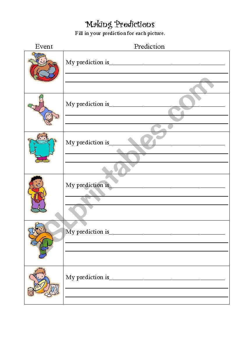 Making Predictions - ESL worksheet by bcesl1st