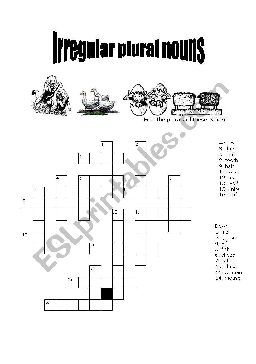 English Worksheets Irregular Plural Nouns