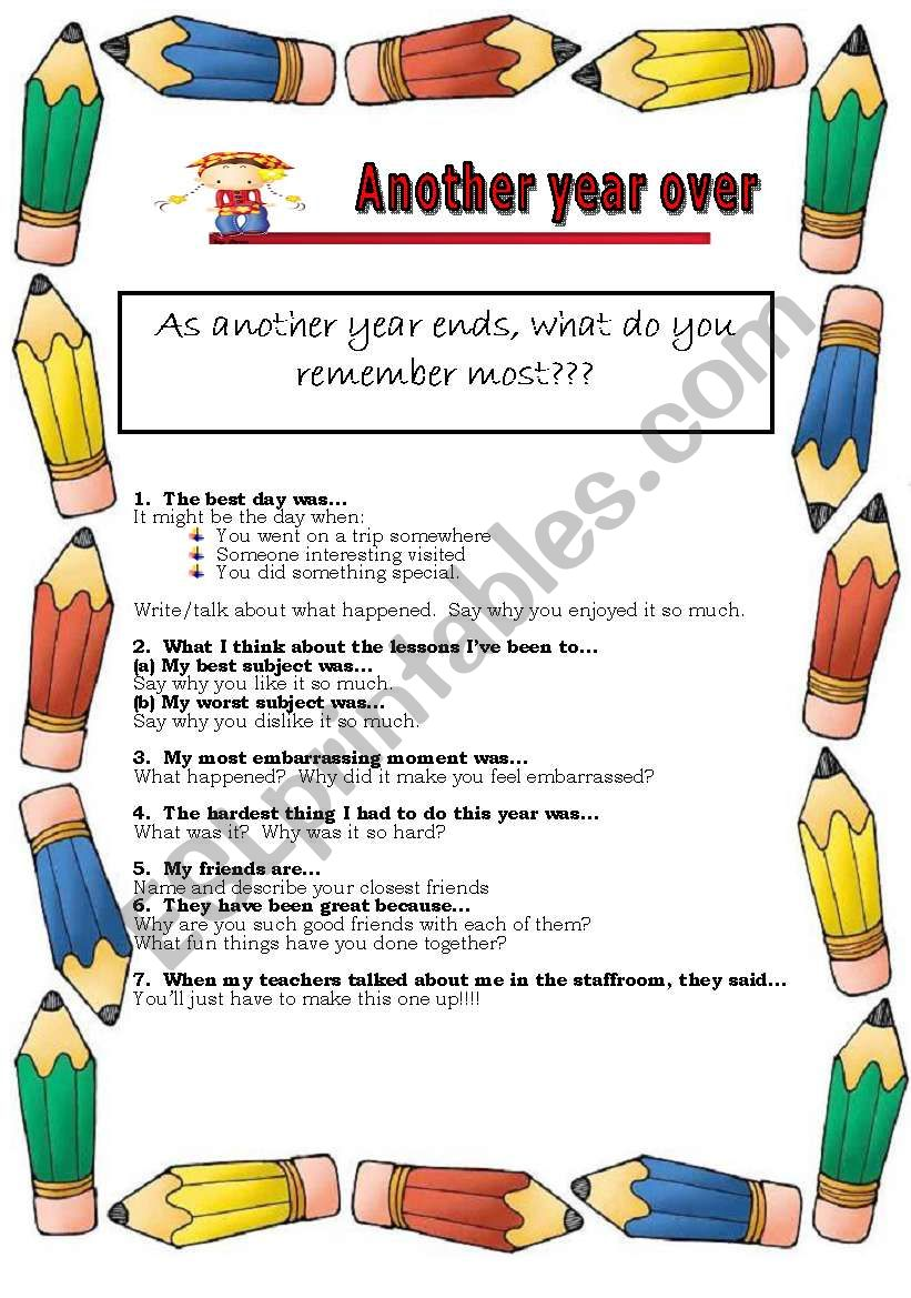 End of year discussion class worksheet