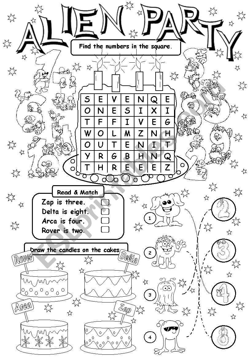 Alien Party (age) worksheet