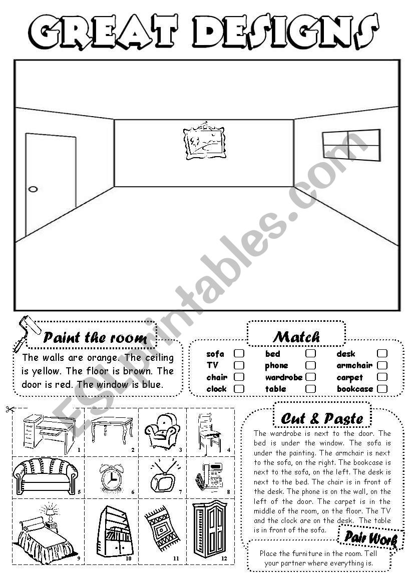 Great designs (furniture) worksheet