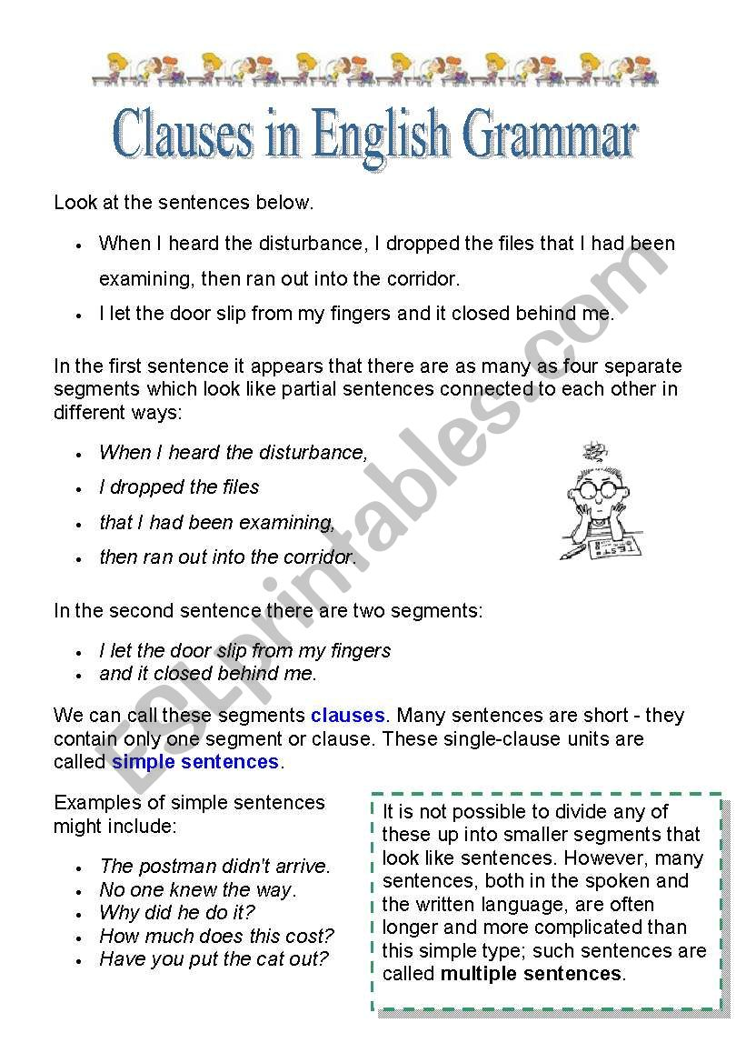 Types Of Clauses Esl Worksheet By Borna