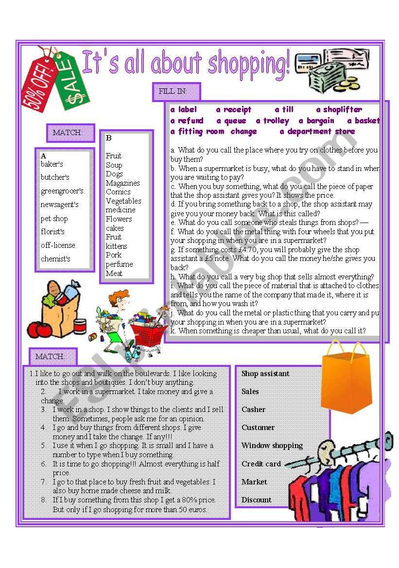 Shopping vocabulary worksheet