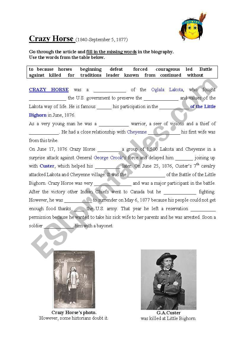 CRAZY HORSE biography-fill in worksheet