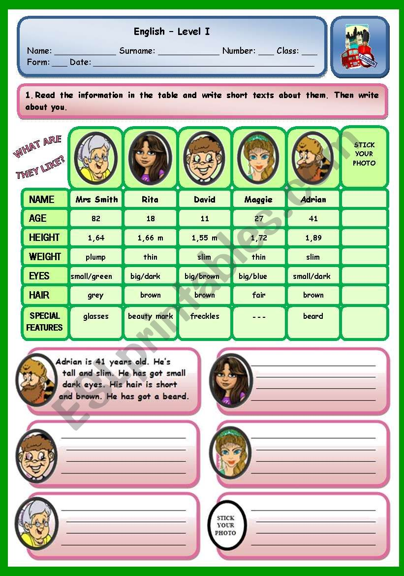 WHAT ARE THEY LIKE? worksheet
