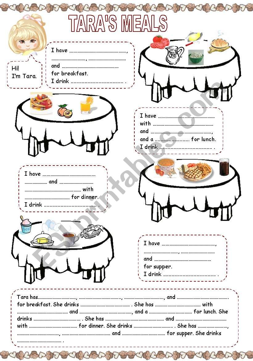 Tara´s meals (1) worksheet