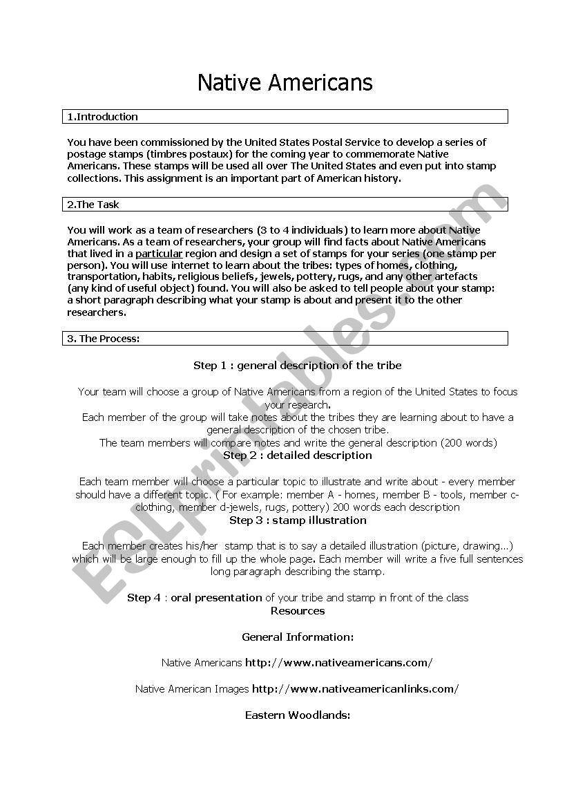 NAtive Americans worksheet