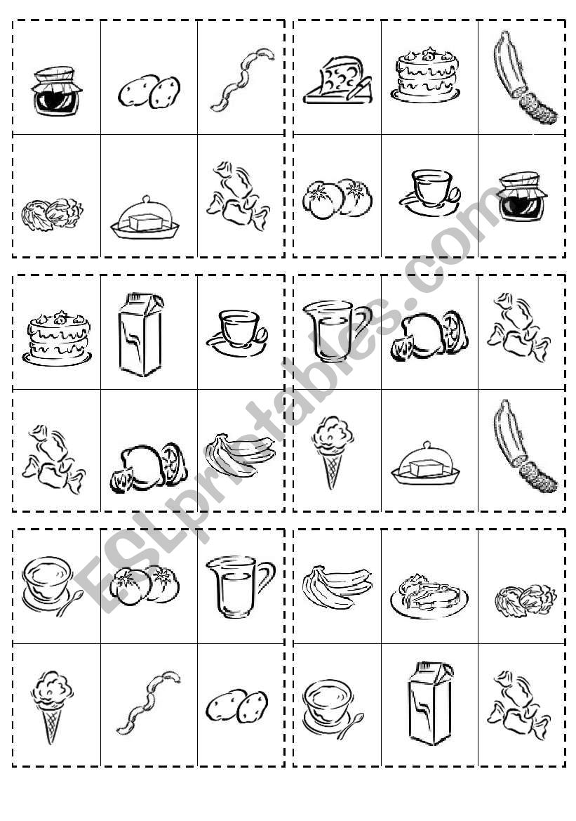FOOD BINGO GAME worksheet