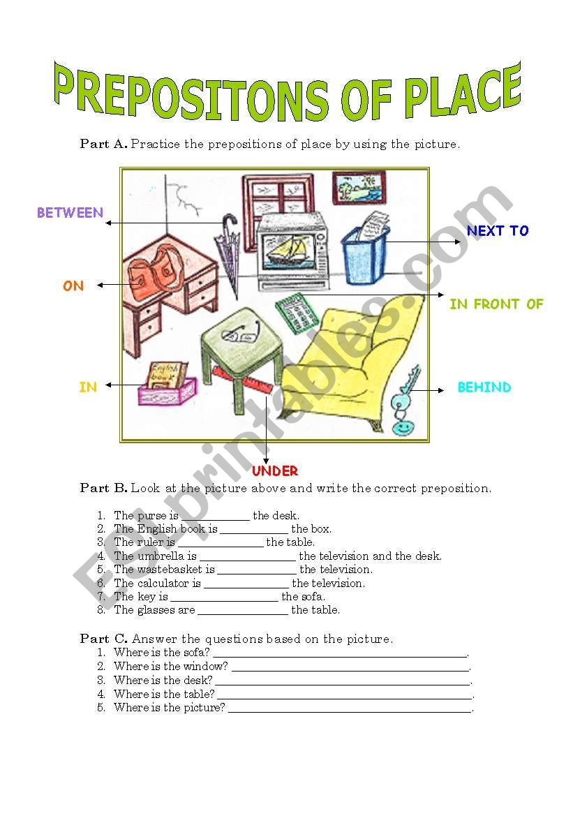 Prepositons of Place worksheet