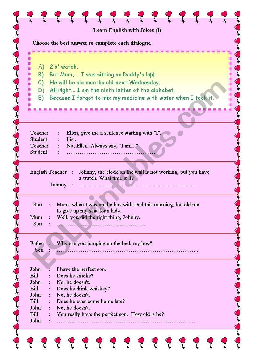 Learn English with Jokes worksheet