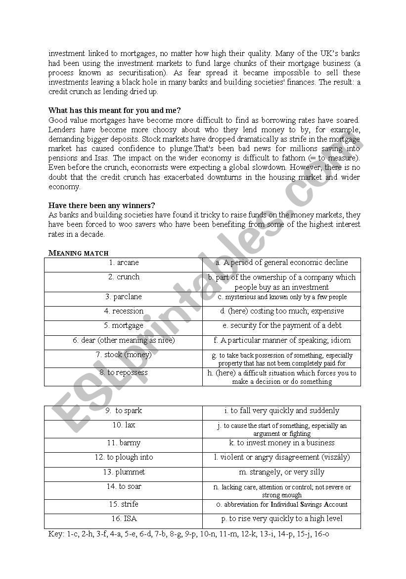 The economical crisis explained - ESL worksheet by donkaway