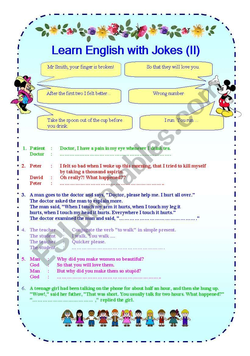 English Worksheets Learn English With Jokes Ii